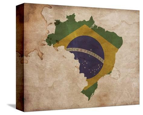 Map with Flag Overlay Brazil-Color Me Happy-Stretched Canvas Print