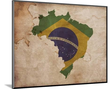 Map with Flag Overlay Brazil-Color Me Happy-Mounted Art Print