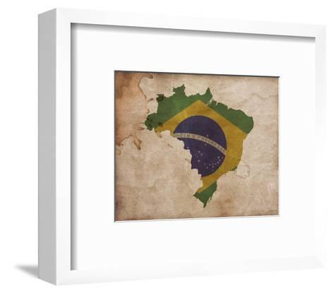 Map with Flag Overlay Brazil-Color Me Happy-Framed Art Print