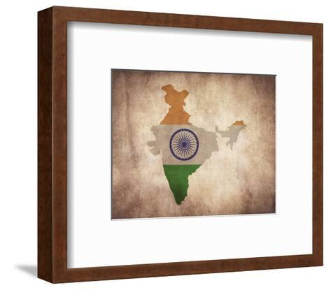 Map with Flag Overlay India-Color Me Happy-Framed Art Print