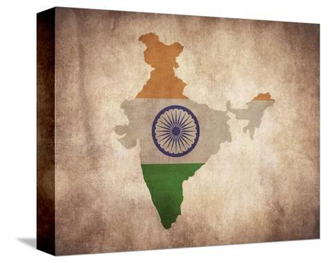 Map with Flag Overlay India-Color Me Happy-Stretched Canvas Print