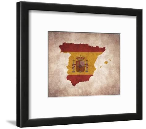 Map with Flag Overlay Spain-Color Me Happy-Framed Art Print