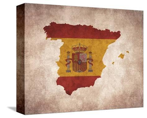Map with Flag Overlay Spain-Color Me Happy-Stretched Canvas Print