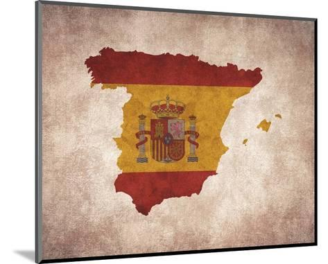 Map with Flag Overlay Spain-Color Me Happy-Mounted Art Print