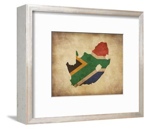 Map with Flag Overlay South Africa-Color Me Happy-Framed Art Print
