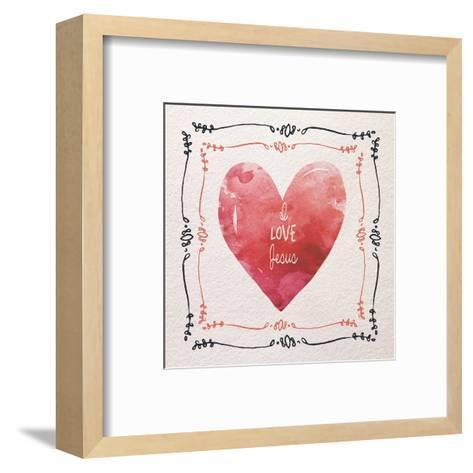 Watercolor Heart I Love Jesus-Color Me Happy-Framed Art Print