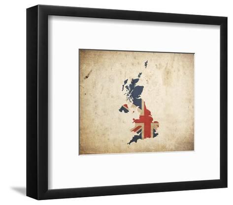 Map With Flag Overlay United Kingdom Color Me Happy Framed Art Print