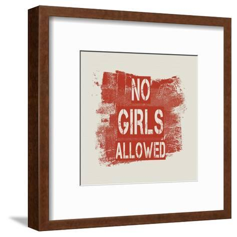 No Girls Allowed Grunge Paint Red-Color Me Happy-Framed Art Print