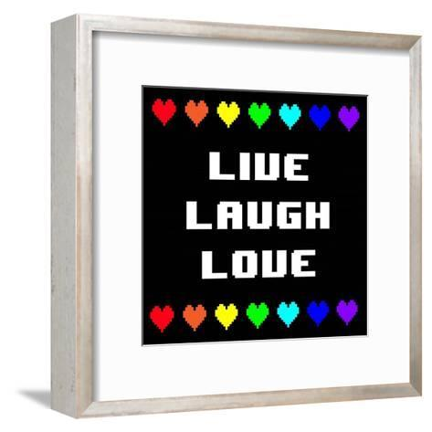Live Laugh Love - Black with Pixel Hearts-Color Me Happy-Framed Art Print