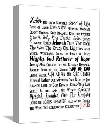 Names of Jesus Rectangle Black and Red Text-Inspire Me-Stretched Canvas Print
