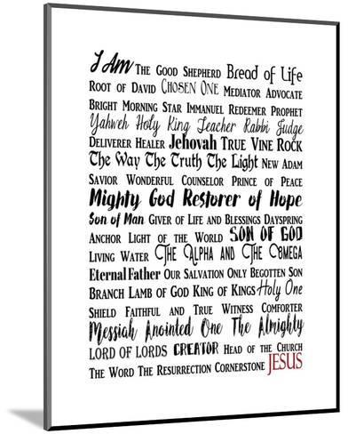 Names of Jesus Rectangle Black and Red Text-Inspire Me-Mounted Art Print