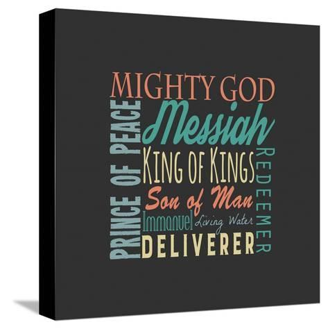 Names of Jesus Square Green and Orange Text - Gray-Inspire Me-Stretched Canvas Print