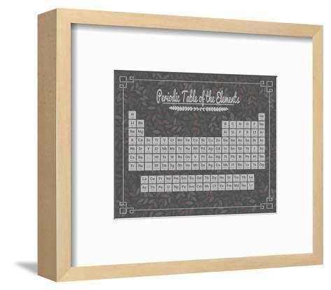 Periodic Table Gray and Red Leaf Pattern Dark-Color Me Happy-Framed Art Print