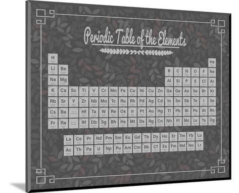 Periodic Table Gray and Red Leaf Pattern Dark-Color Me Happy-Mounted Art Print