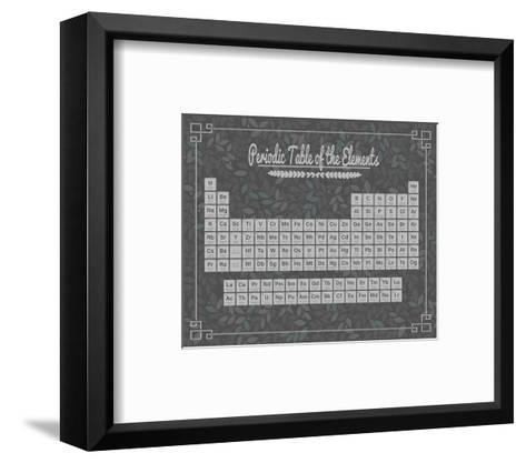 Periodic Table Gray and Teal Leaf Pattern Dark-Color Me Happy-Framed Art Print