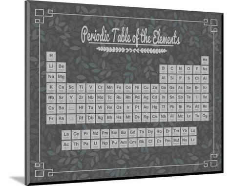 Periodic Table Gray and Teal Leaf Pattern Dark-Color Me Happy-Mounted Art Print