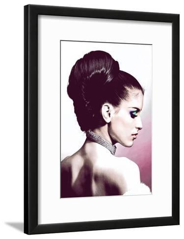 Vintage Fashion Woman With Necklace Pink-Color Me Happy-Framed Art Print
