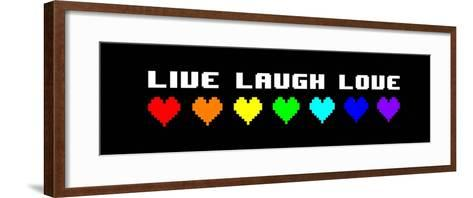 Live Laugh Love - Black Panoramic with Pixel Hearts-Color Me Happy-Framed Art Print