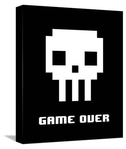 Game Over - White Skull-Color Me Happy-Stretched Canvas Print