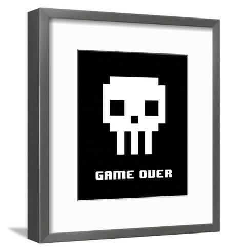 Game Over - White Skull-Color Me Happy-Framed Art Print
