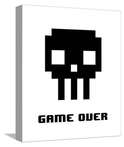 Game Over - Black Skull-Color Me Happy-Stretched Canvas Print