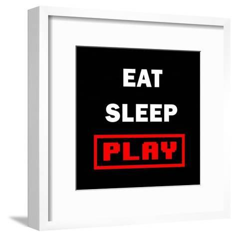 Eat Sleep Play - Black with Red Text-Color Me Happy-Framed Art Print