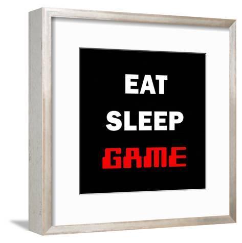 Eat Sleep Game - Black-Color Me Happy-Framed Art Print