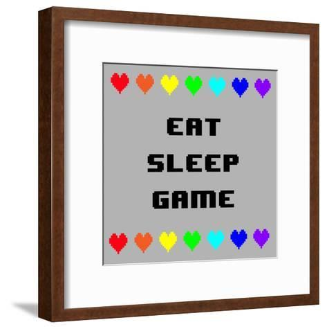 Eat Sleep Game - Gray with Pixel Hearts-Color Me Happy-Framed Art Print