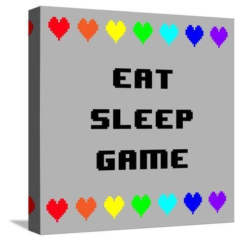 Eat Sleep Game - Gray with Pixel Hearts-Color Me Happy-Stretched Canvas Print