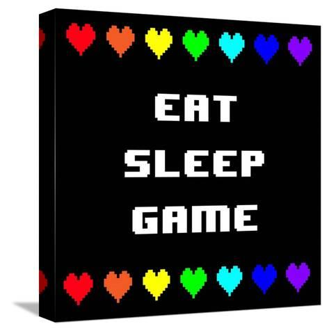 Eat Sleep Game - Black with Pixel Hearts-Color Me Happy-Stretched Canvas Print