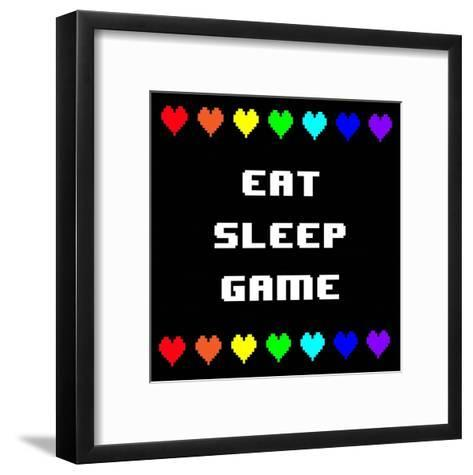 Eat Sleep Game - Black with Pixel Hearts-Color Me Happy-Framed Art Print