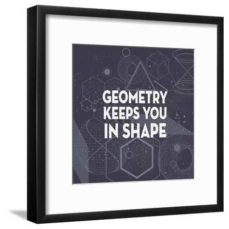 Geometry Keeps You In Shape Dark Pattern-Color Me Happy-Framed Art Print