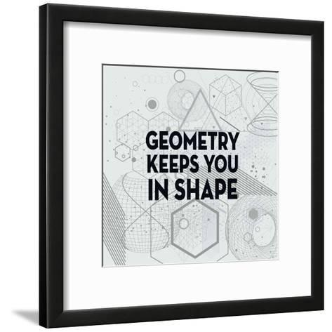 Geometry Keeps You In Shape Light Pattern-Color Me Happy-Framed Art Print