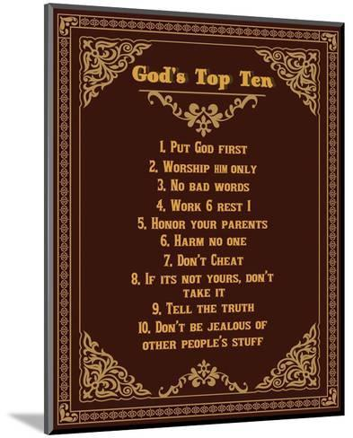 God's Top Ten Brown and Gold Design-Inspire Me-Mounted Art Print