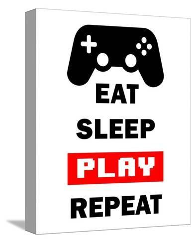 Eat Sleep Game Repeat - White and Red-Color Me Happy-Stretched Canvas Print