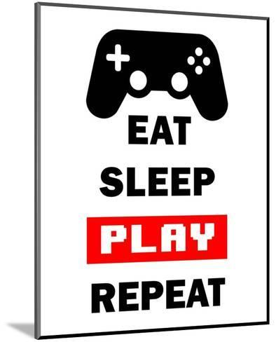 Eat Sleep Game Repeat - White and Red-Color Me Happy-Mounted Art Print