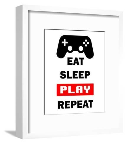 Eat Sleep Game Repeat - White and Red-Color Me Happy-Framed Art Print
