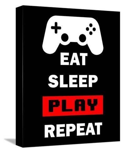 Eat Sleep Game Repeat - Black and Red-Color Me Happy-Stretched Canvas Print