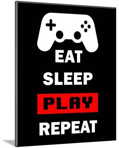 Eat Sleep Game Repeat - Black and Red-Color Me Happy-Mounted Art Print