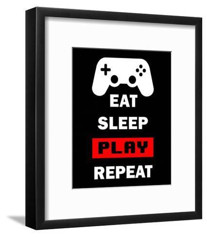 Eat Sleep Game Repeat - Black and Red-Color Me Happy-Framed Art Print