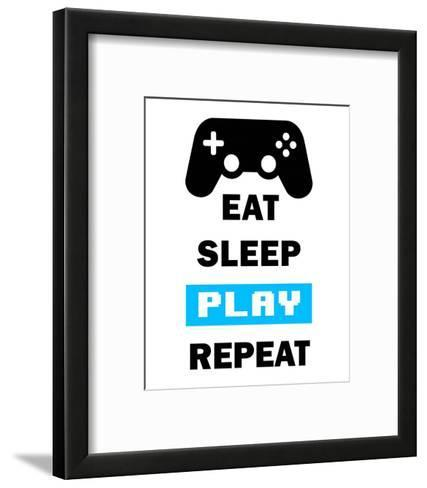 Eat Sleep Game Repeat - White and Blue-Color Me Happy-Framed Art Print