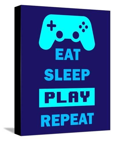 Eat Sleep Game Repeat - Blue-Color Me Happy-Stretched Canvas Print