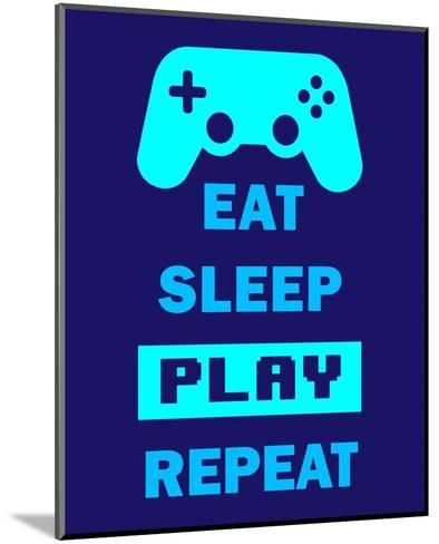 Eat Sleep Game Repeat - Blue-Color Me Happy-Mounted Art Print