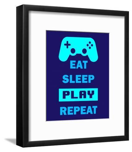 Eat Sleep Game Repeat - Blue-Color Me Happy-Framed Art Print