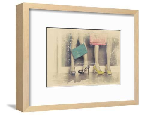 Vintage Fashion Pop of Color Heels and Handbags-Color Me Happy-Framed Art Print