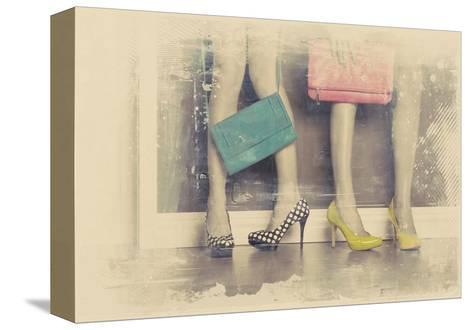 Vintage Fashion Pop of Color Heels and Handbags-Color Me Happy-Stretched Canvas Print