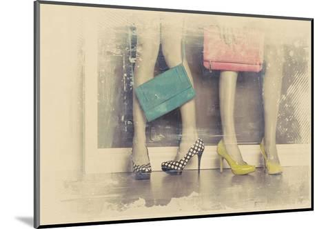 Vintage Fashion Pop of Color Heels and Handbags-Color Me Happy-Mounted Art Print