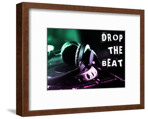 Drop The Beat - Green and Pink-Color Me Happy-Framed Art Print
