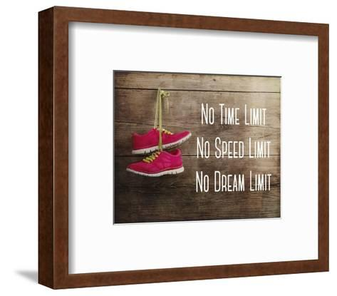 No Time Limit No Speed Limit No Dream Limit Pink Shoes-Sports Mania-Framed Art Print