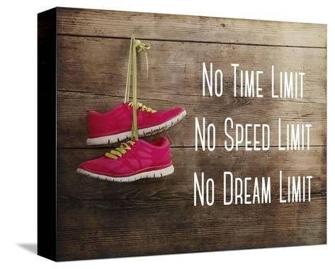 No Time Limit No Speed Limit No Dream Limit Pink Shoes-Sports Mania-Stretched Canvas Print